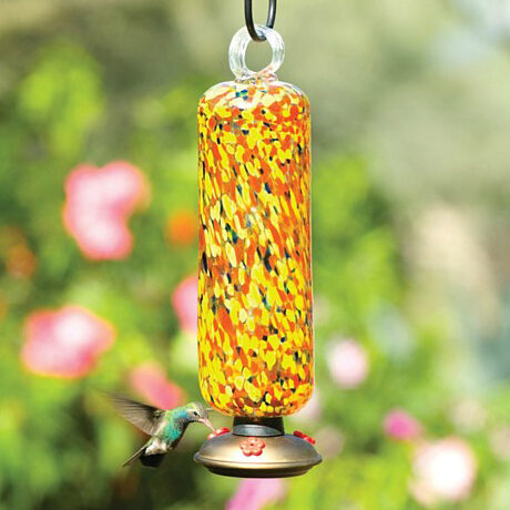 Carnival Multicolor Filigree Glass Hummingbird Feeder