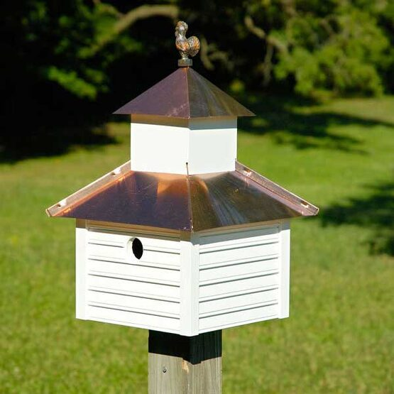 White Copper Rusty Rooster Bird House