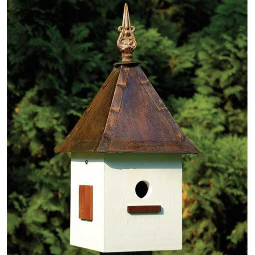 White Copper Songbird Suite Bird House