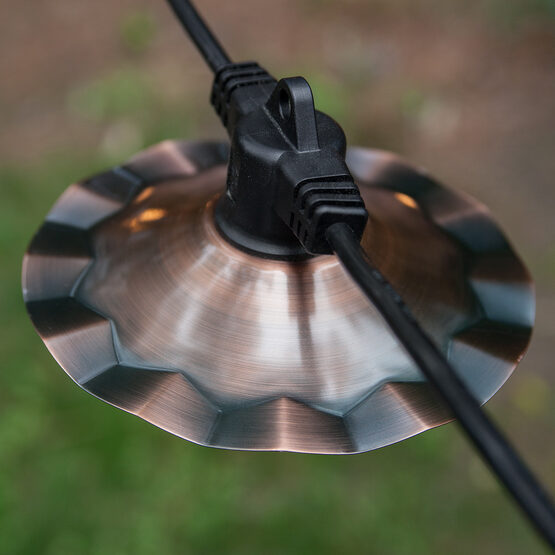 Cafe String Lights: Cafe String Lights, Clear A15 Bulbs, Copper Shades