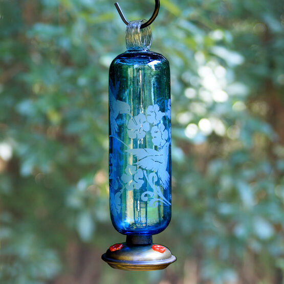 Filigree Glass Hummingbird Feeder