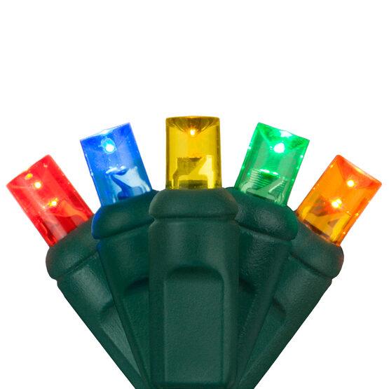 Wide Angle LED Mini Lights, Multicolor, Green Wire