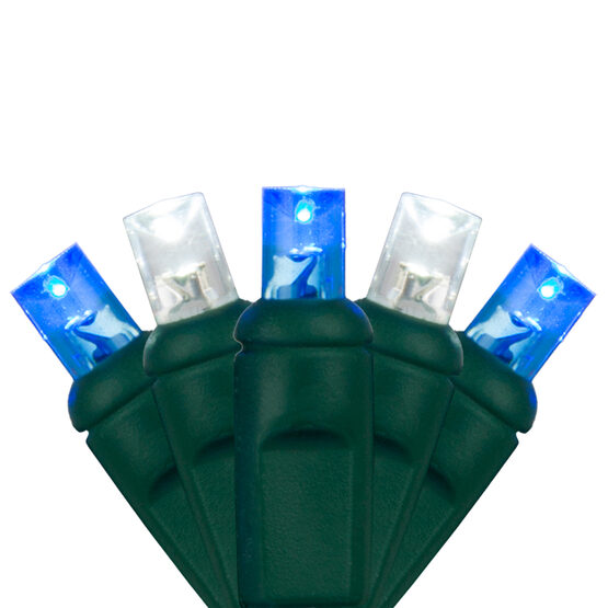 Wide Angle LED Mini Lights, Blue, Cool White, Green Wire