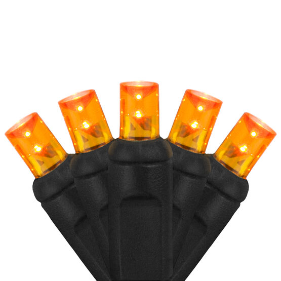 Wide Angle Halloween LED Mini Lights, Amber, Black Wire