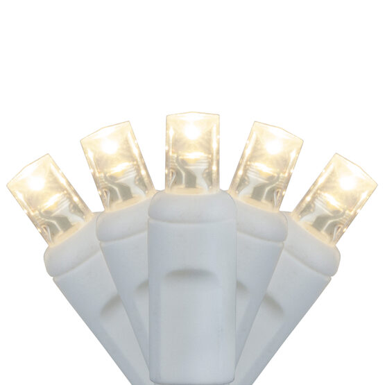 Wide Angle LED Mini Lights, Warm White, White Wire