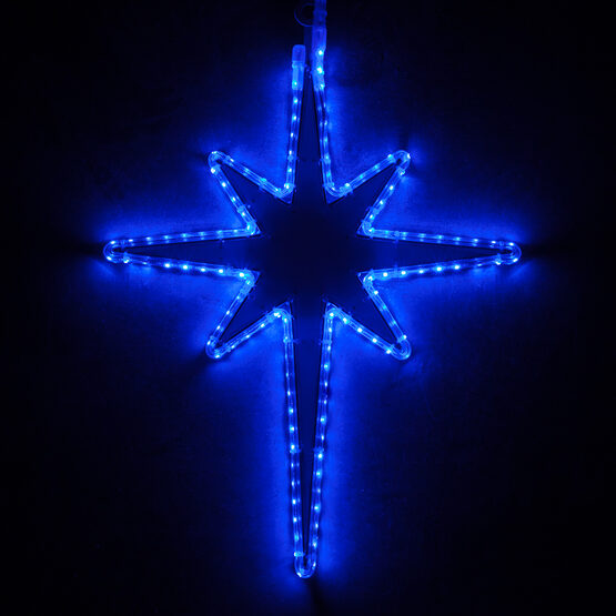 LED Bethlehem Star with Blue Acrylic Center, Blue Lights