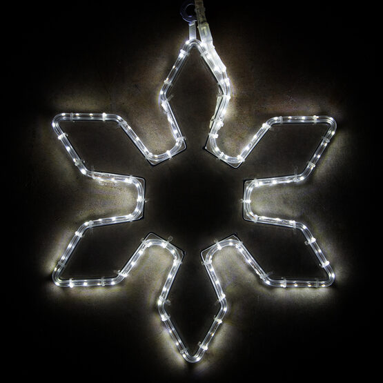 LED 6 Point Snowflake with Clear Acrylic Center, Cool White Lights