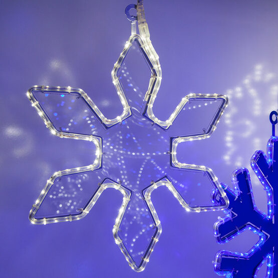 6 Point Snowflake with Clear Acrylic Center, Cool White Lights