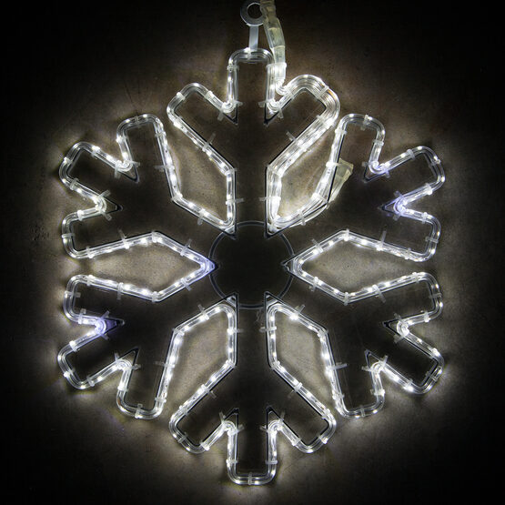 LED 18 Point Snowflake with Clear Acrylic Center, Cool White Lights
