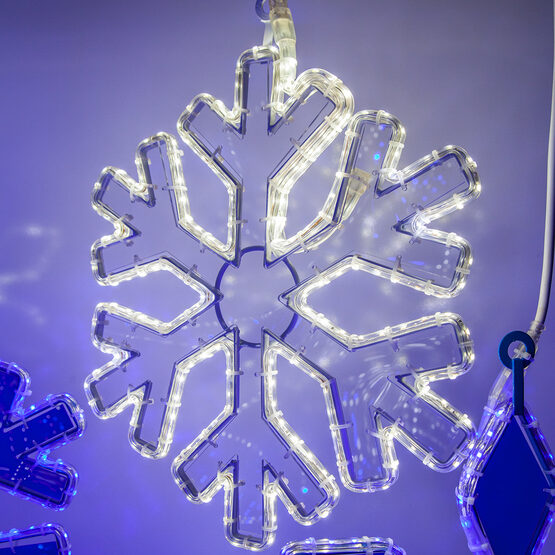 """16"""" LED 18 Point Snowflake with Clear Acrylic Center, Cool White Lights"""