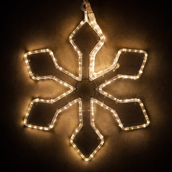 LED 6 Point Snowflake with Clear Acrylic Center, Warm White Lights