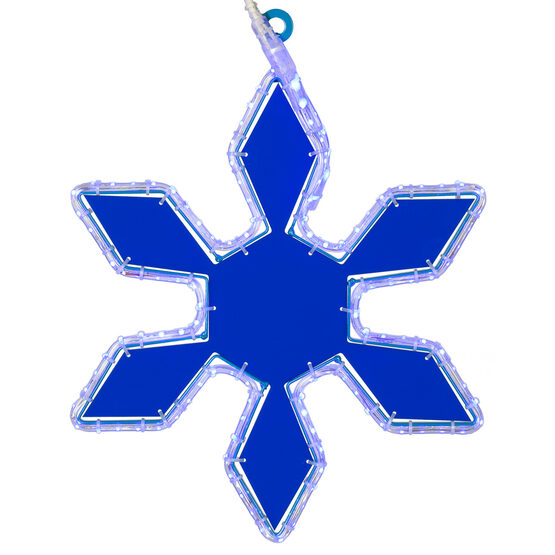 LED 6 Point Snowflake with Blue Acrylic Center, Blue Lights