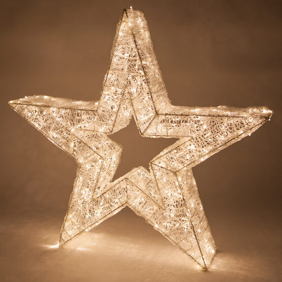 LED Five Point Dimensional Star, Warm White Lights