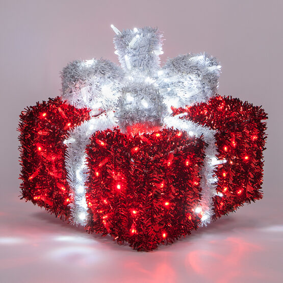 LED Red and White LED Dimensional Outdoor Christmas Gift Box