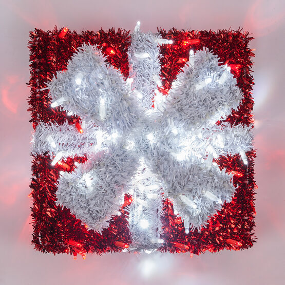 Red and White LED Dimensional Outdoor Christmas Gift Box