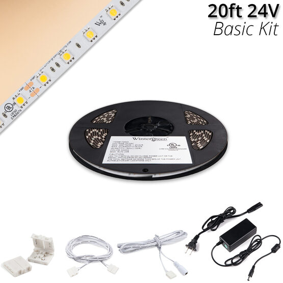 Basic 24V High Output LED Tape Light Kit, Champagne Warm White