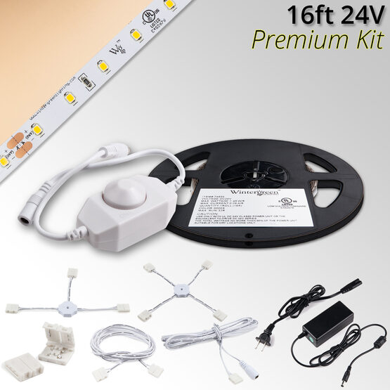 Premium 24V LED Tape Light Kit, Champagne Warm White