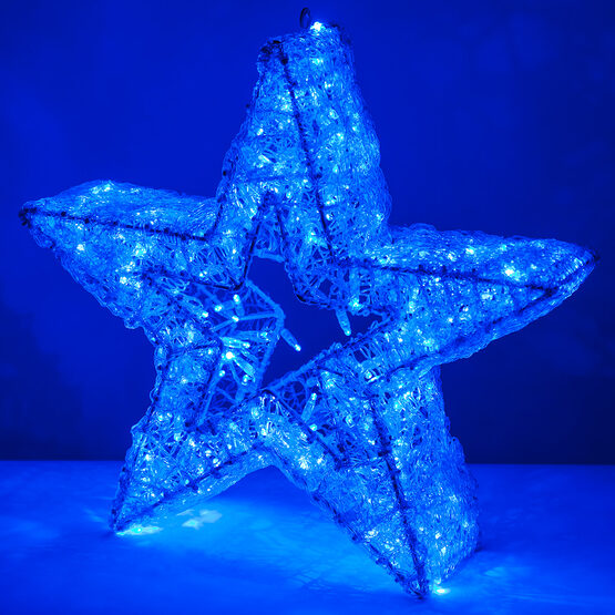 LED LED Five Point Dimensional Star, Blue Lights