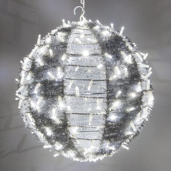 """20"""" Commercial Light Ball, With Ornamental Tinsel Cool White LED"""