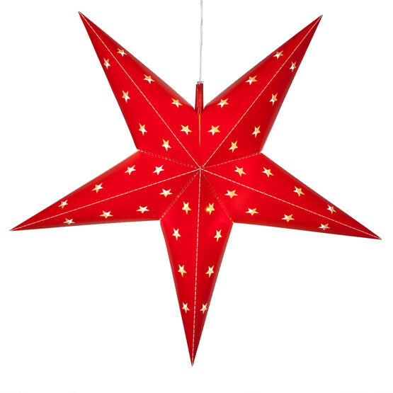 Red 5 Point Star Lantern, Fold-Flat, LED Lights