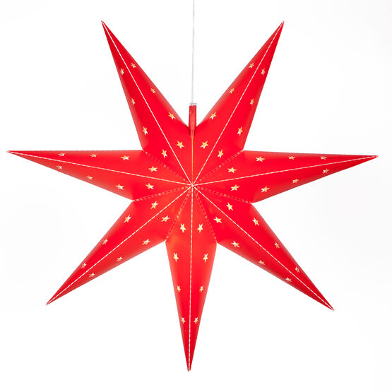 Red 7 Point Star Lantern, Fold-Flat, LED Lights