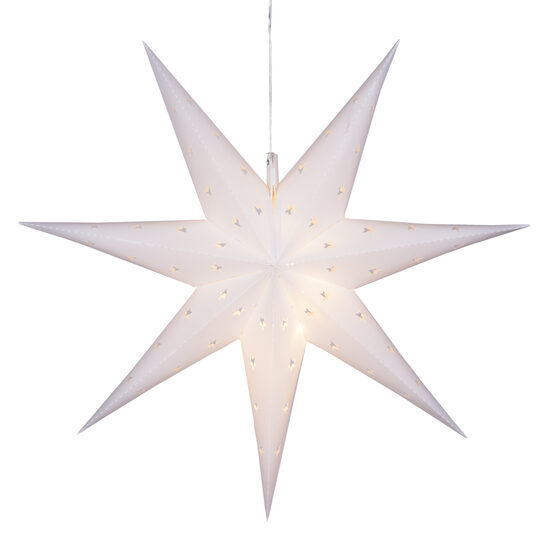 White 7 Point Star Lantern, Fold-Flat, LED Lights
