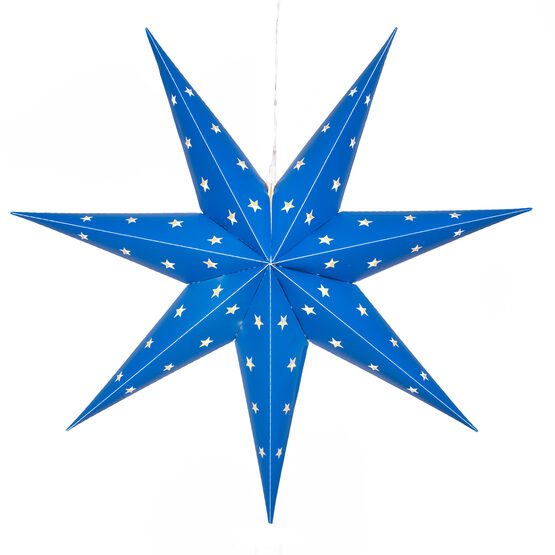 Blue 7 Point Star Lantern, Fold-Flat, LED Lights