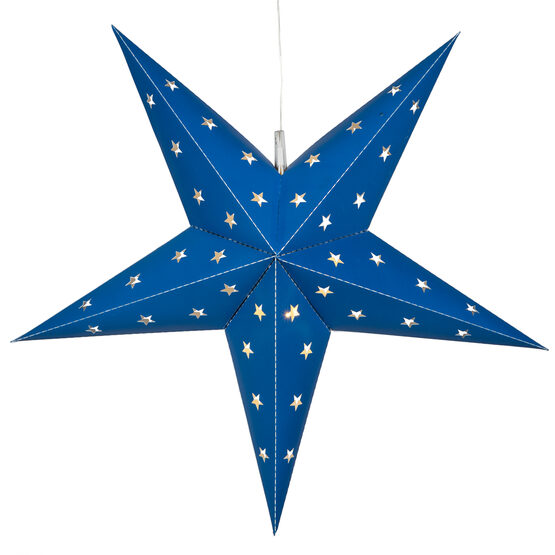 Blue 5 Point Star Lantern, Fold-Flat, LED Lights