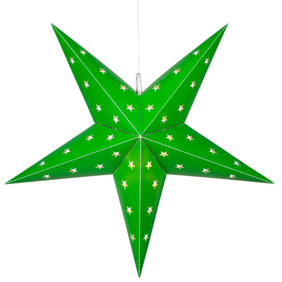 Green 5 Point Star Lantern, Fold-Flat, LED Lights