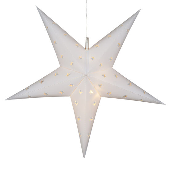 White Aurora Superstar TM 5 Point Star Lantern, Fold-Flat, LED Lights