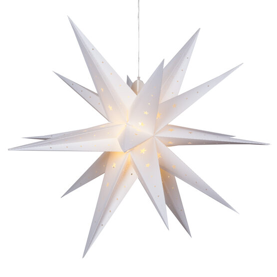 White Aurora Superstar TM Moravian Star Lantern, Fold-Flat, LED Lights