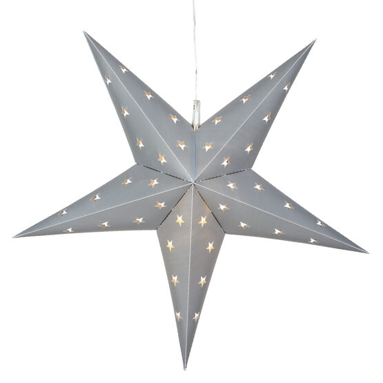 Silver 5 Point Star Lantern, Fold-Flat, LED Lights