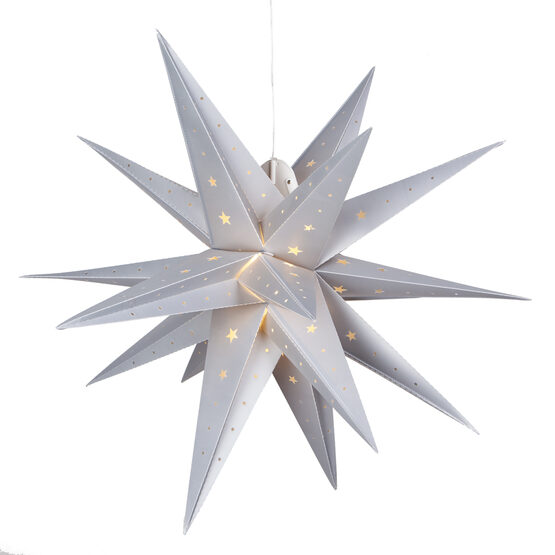 Silver Aurora Superstar TM Folding Star Lantern, Fold-Flat, LED Lights