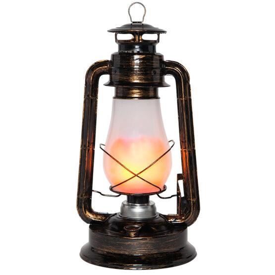 Antiqued Copper Digital Flame LED Lantern