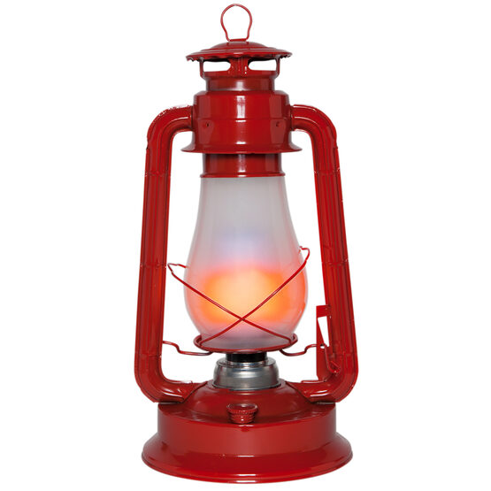 Red Metal Digital Flame LED Lantern