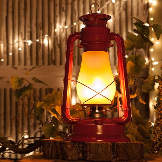 Red Metal Digital Flame LED Lantern