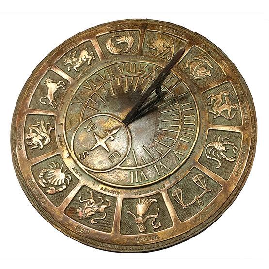 Old World Zodiac Brass Garden Sundial
