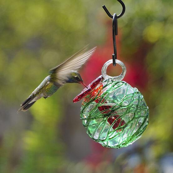 Green Sugar Spun Pearl Drop Hummingbird Feeder