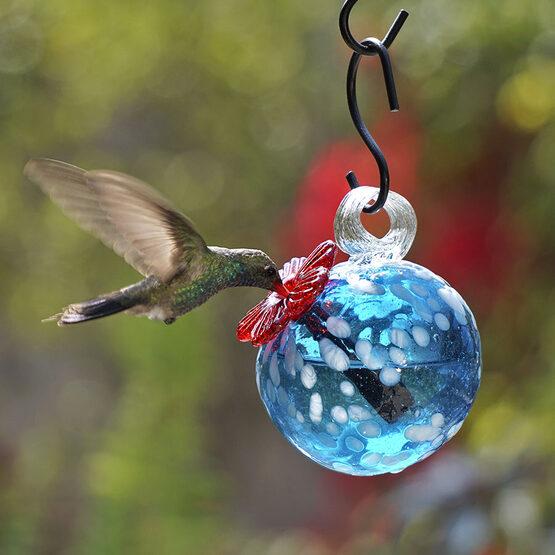 Blue Pearl Drop Hummingbird Feeder
