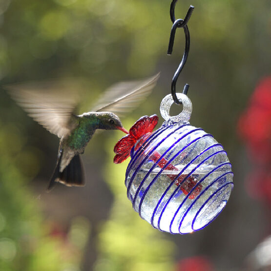 Blue Swirl Pearl Drop Hummingbird Feeder
