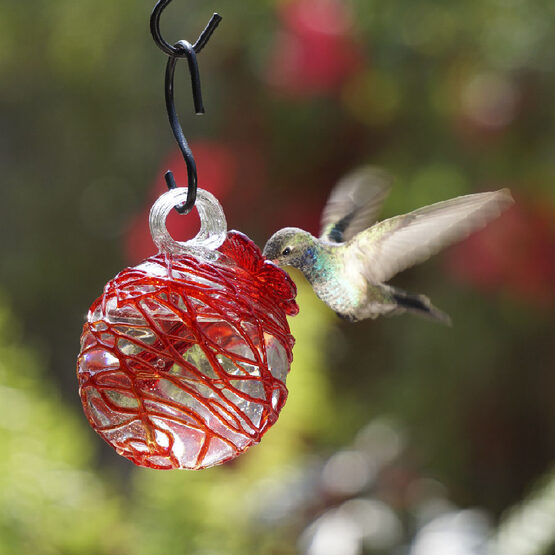 Red Sugar Spun Pearl Drop Hummingbird Feeder