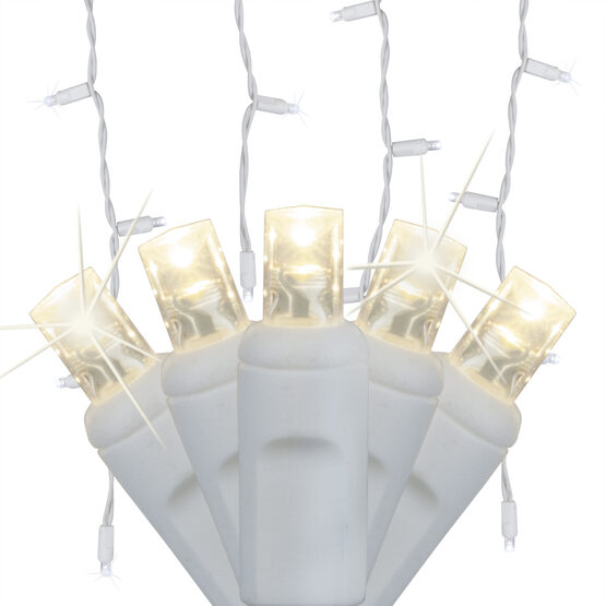 70 5mm LED Icicle Lights, Warm White Twinkle, White Wire