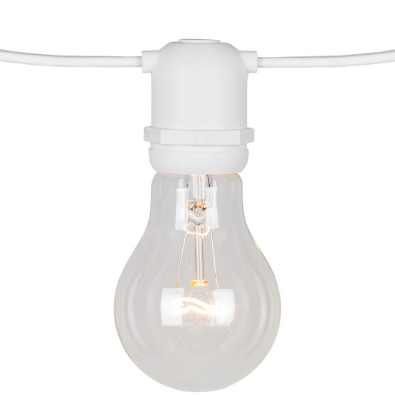 Commercial Patio Light String, E26 Medium Sockets, White Wire
