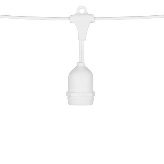 Commercial Patio Light String, Suspended E26 Medium Sockets, White Wire