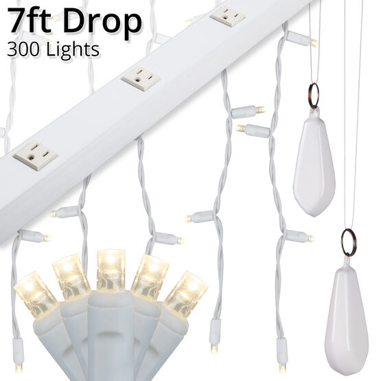 LED Curtain Lights, 7' Drops, Warm White 5mm Lights, White Wire
