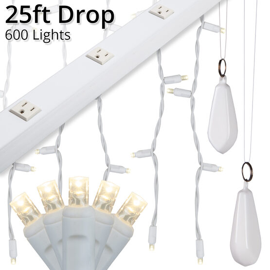 LED Curtain Lights, 25' Drops, Warm White 5mm Lights, White Wire