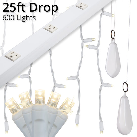 LED Curtain Lights, 25' Drops, Warm White 5mm Twinkle Lights, White Wire