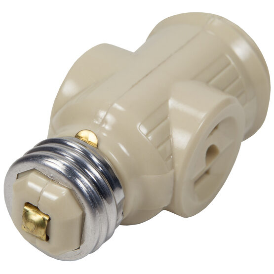 Light Socket Adapter, 2-Tap Outlets, Ivory