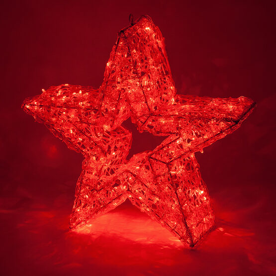 LED Five Point Dimensional Star, Red Lights