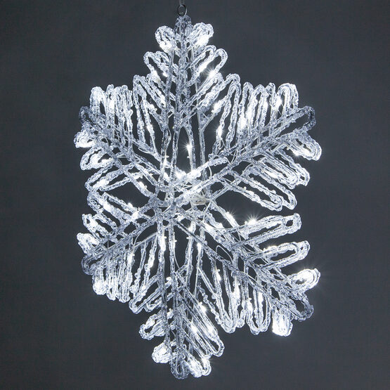 Double Sided LED Ice Crystal Snowflake, Cool White, 25""